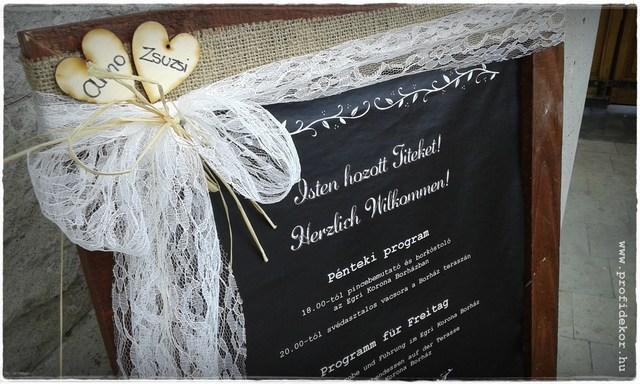 Üdvözlő tábla esküvőre