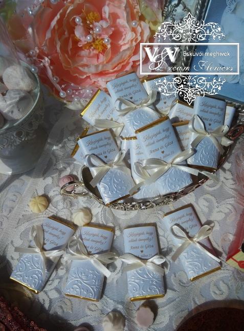 Dombormintás exkluzív esküvői csoki köszönetajándékok 56399c36c8