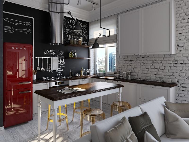 SMEG piros hűtő-fehér konyhabútor