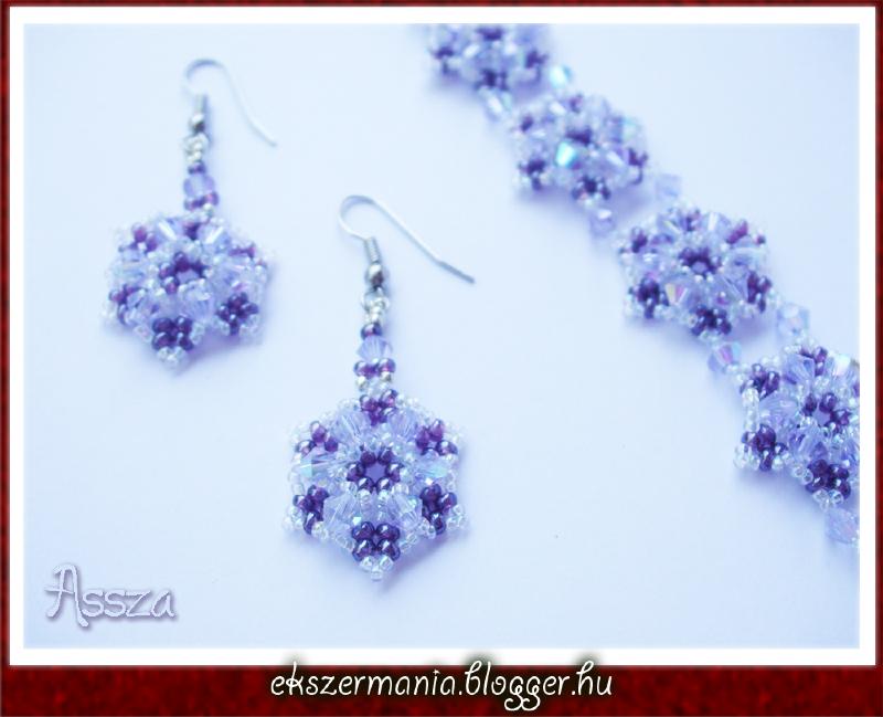 Purple Hexagon karkötő és fülbevaló távolkeleti kristályokból