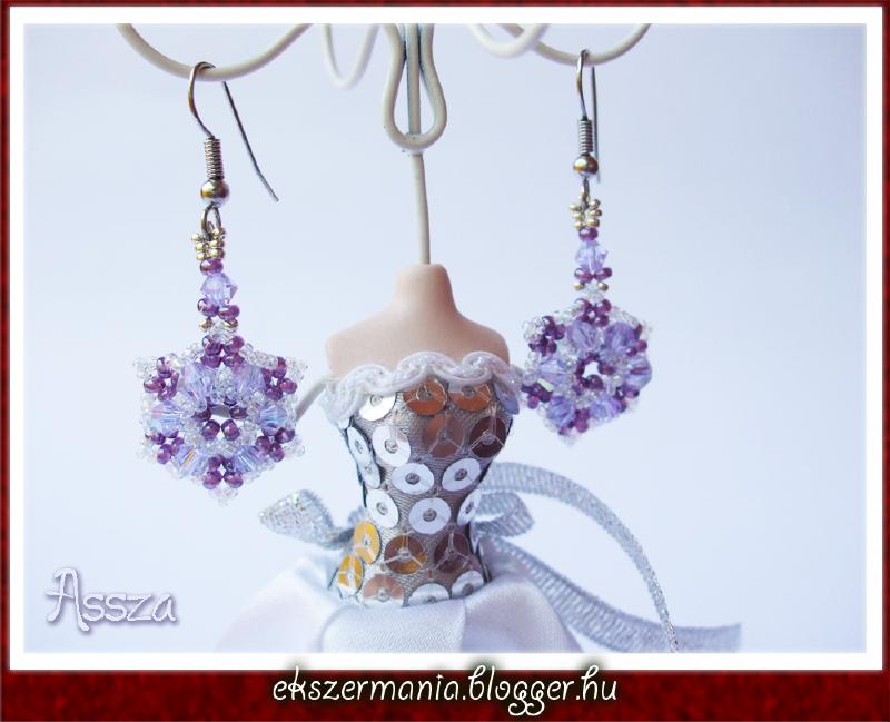 Purple Hexagon fülbevaló távolkeleti kristályokból