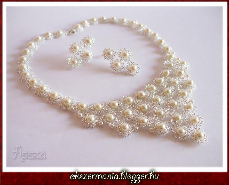 Margaréta nyakék és fülbevaló, esküvői ékszer