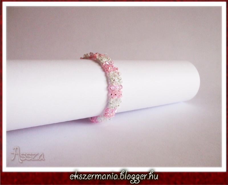 Rózsaszín kritály karkötő