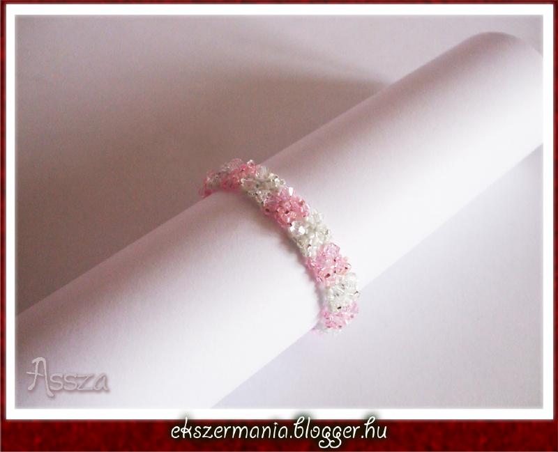 Rózsaszín kristály karkötő