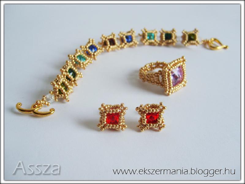 Karkötő, fülbevaló és gyűrű Swarovski kristályokból