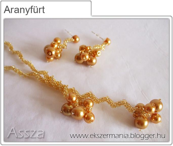 Aranyfürt szett: nyaklánc és fülbevaló