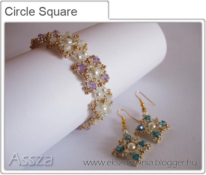 Circle Square szett: karkötő sé fülbevaló