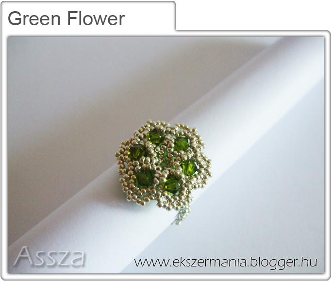 Green Flower gyűrű