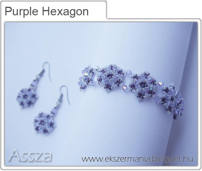 Purple Hexagon szett: karkötő és fülbevaló