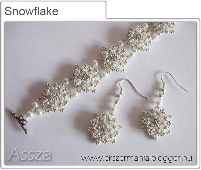 Snowflake szett: karkötő és fülbvaló