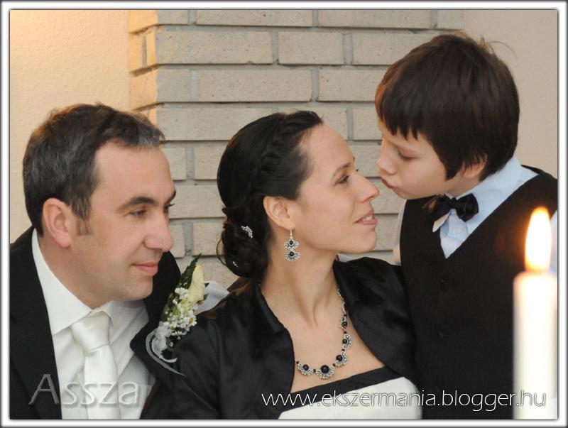 Fekete-ezüst legyezős nyaklánc, fülbevaló és hajdíszek
