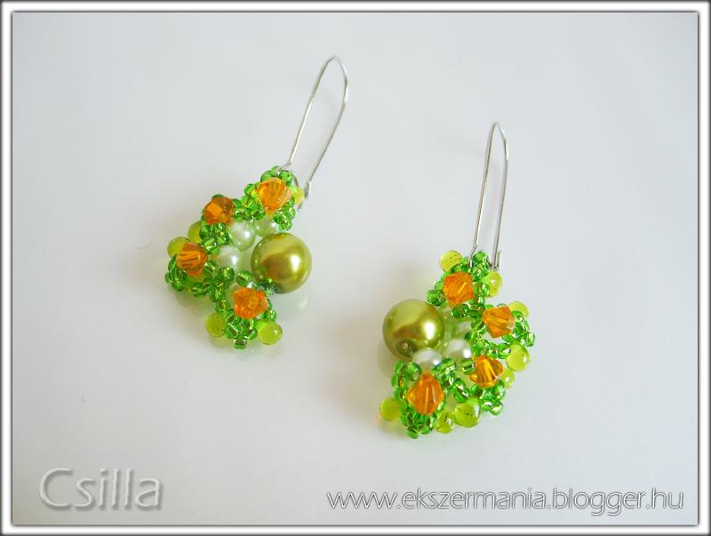 Margaréta fülbevaló - zöld
