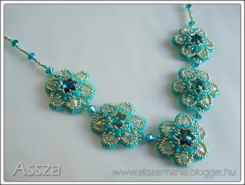 Türkiz nyakék Swarovski kristályokkal
