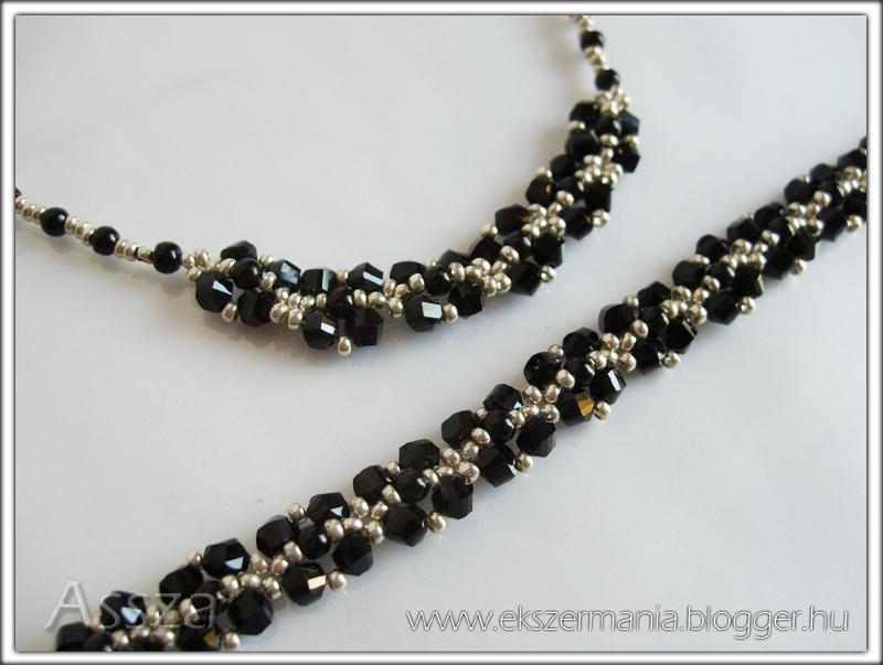 Fekete-ezüst ékszerek: nyaklánc és karkötő