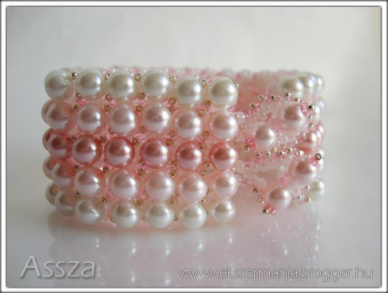 Gyöngysoros karkötő rózsaszín teklákból