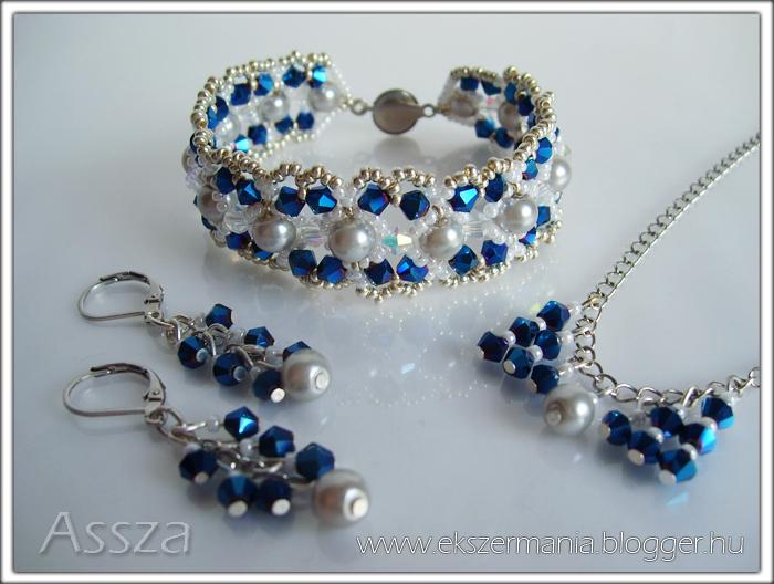 Karkötő, nyaklánc és fülbevaló kristályokkal
