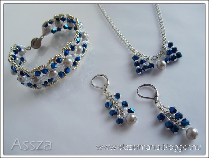 Karkötő és fülbevaló Swarovski kristályokkal