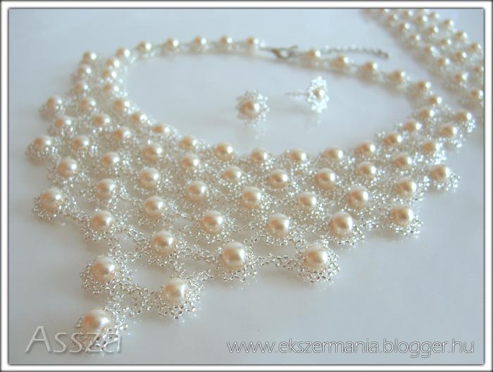 Esküvői gyöngy-ékszerek: nyakék, karkötő és fülbevaló