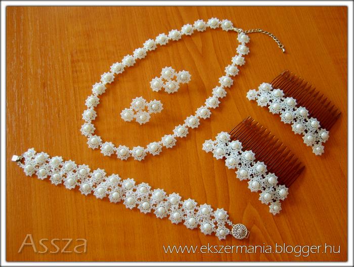 Esküvői ékszerek: nyaklánc, karkötő, fülbevaló, hajdísz