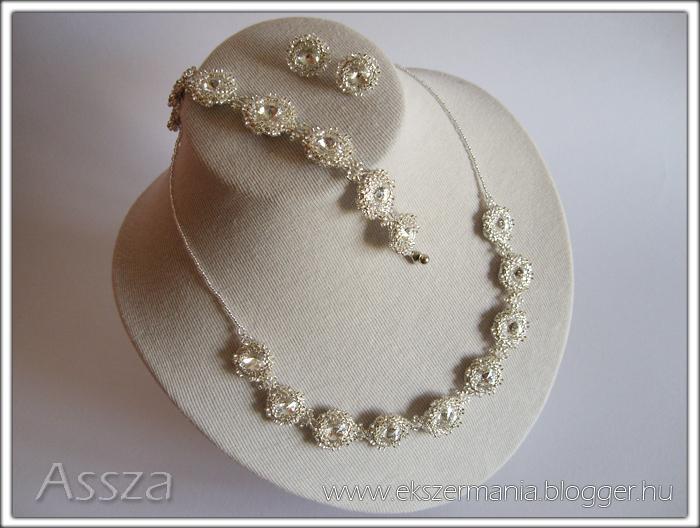 Esküvői kristály-ékszerek: nyaklánc, karkötő, fülbevaló