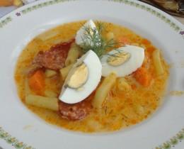 tojásos kolbászos zöldbableves
