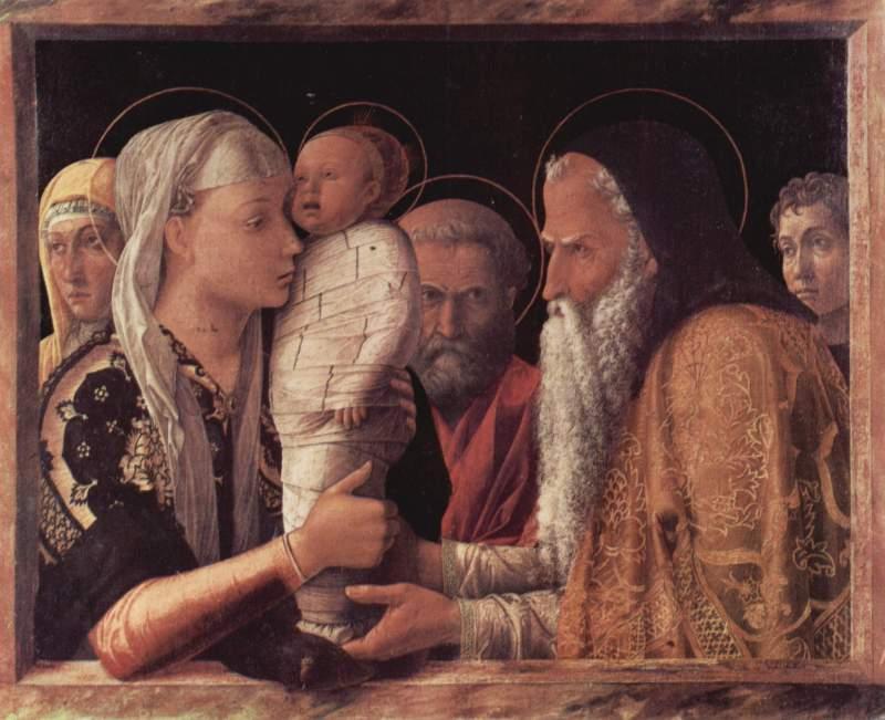 Andrea Mantegna 1465:  Jézus bemutatása a templomban
