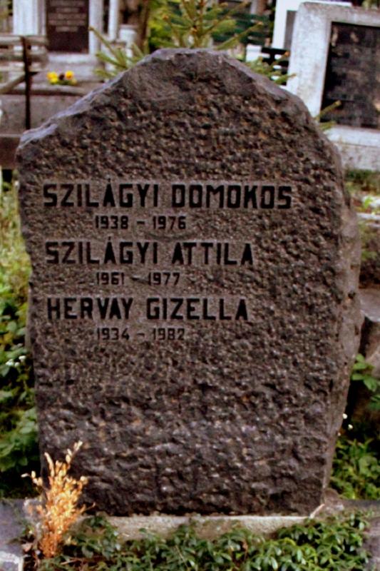 Szilágyi Domokos, Szilágyi Attila, és Hervay Gizella sírköve